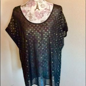 NWT Lane Bryant 🍁Black & Gold Polka Dot Blouse
